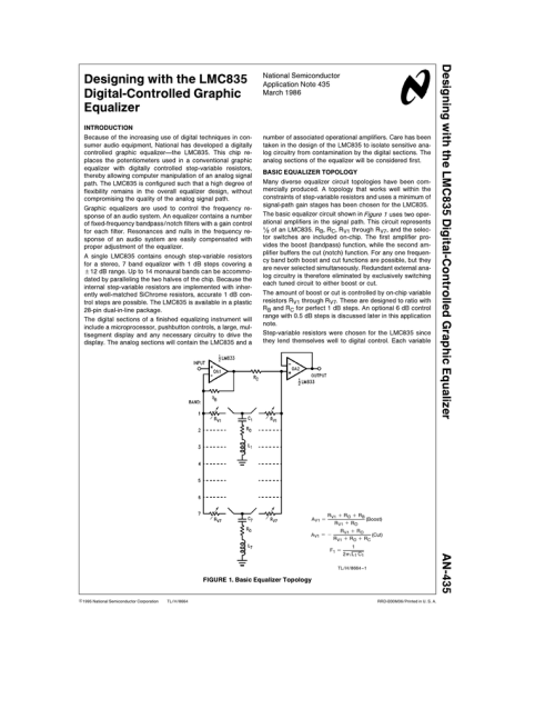 small resolution of designing with the lmc835 digital controlled graphic equalizer band graphic equalizer circuit diagram design using lmc835