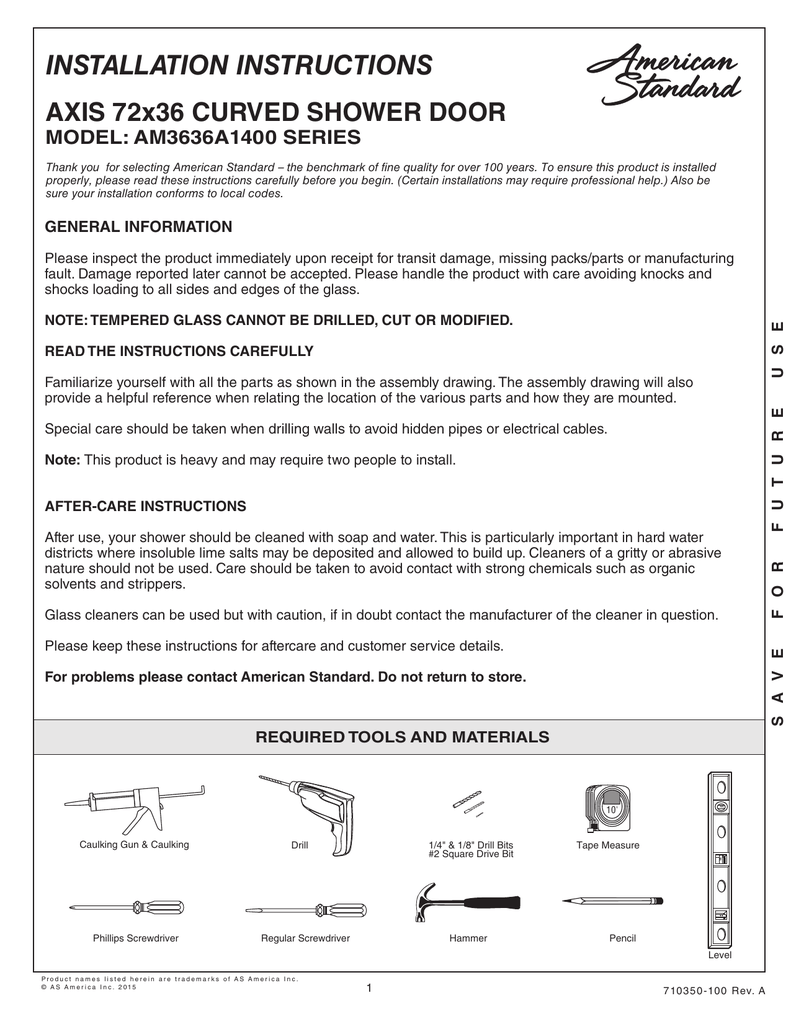 Installation Instructions Axis 72x36 Curved Shower Door