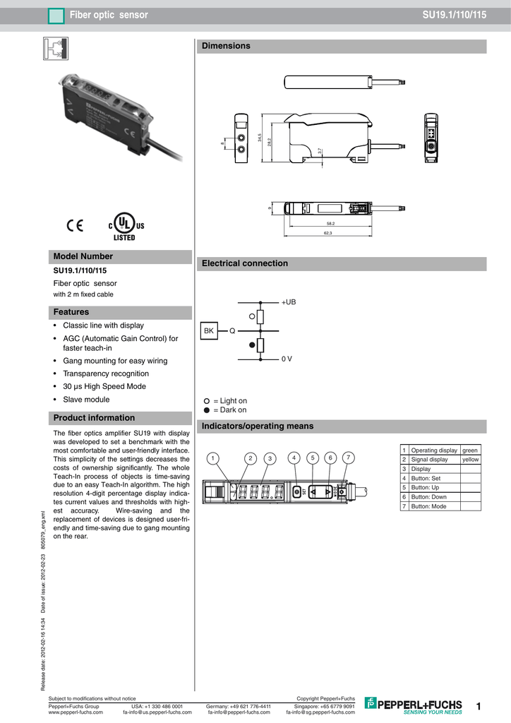 Fiber optic sensor SU19.1/110/115 Dimensions Model Number