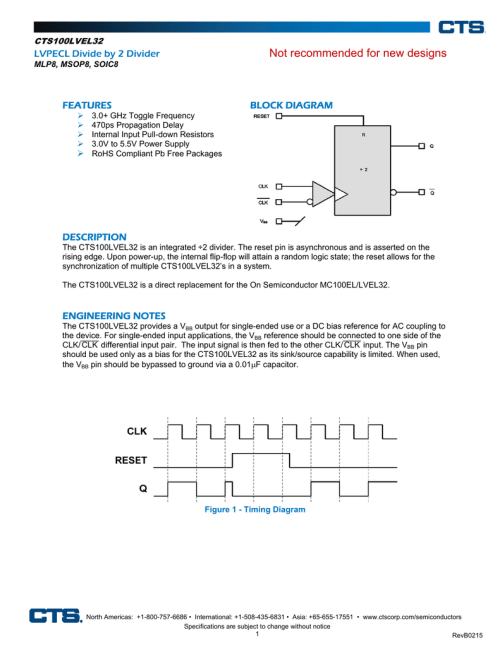 small resolution of not recommended for new designs lvpecl divide by 2 divider block diagram