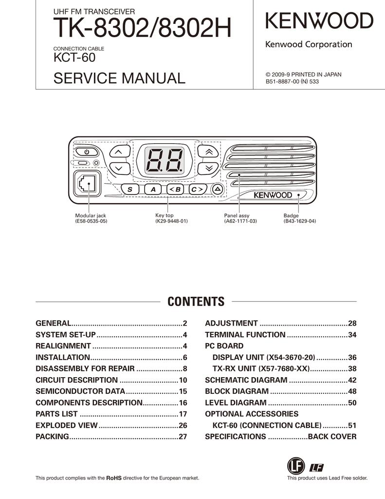 hight resolution of tk 8302 8302h service manual kct 60 uhf fm transceiver