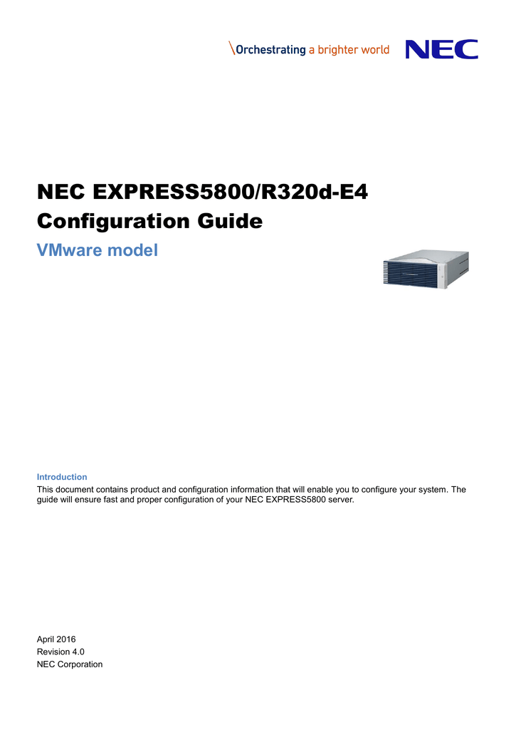 NEC EXPRESS5800/R320d-E4 Configuration Guide VMware model