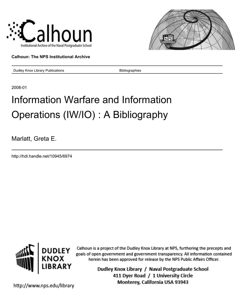 hight resolution of information warfare and information operations iw io a bibliography marlatt greta e