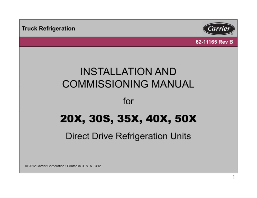 medium resolution of carrier transicold 30s wiring diagram installation and commissioning manual 20x 30s 35x 40x 50x for