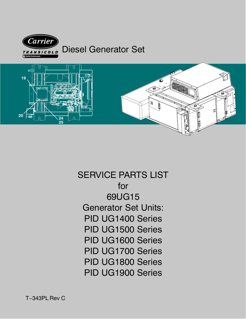 medium resolution of diesel generator set service parts list for 69ug15
