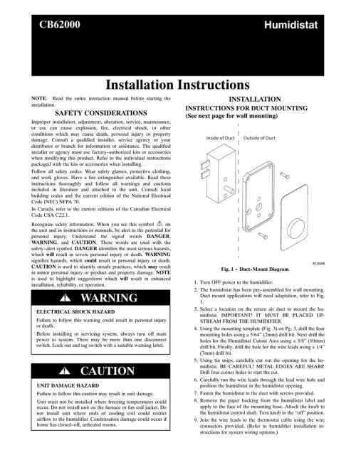 small resolution of installation instructions cb62000 humidistat