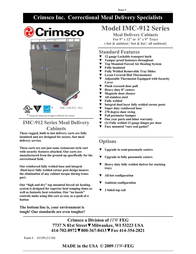 Model IMC-912 Series Crimsco Inc. Correctional Meal