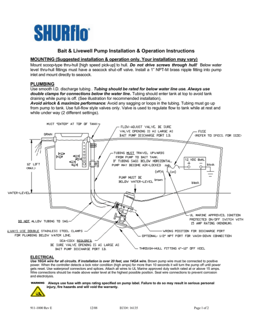 small resolution of bait amp livewell pump installation amp operation instructions