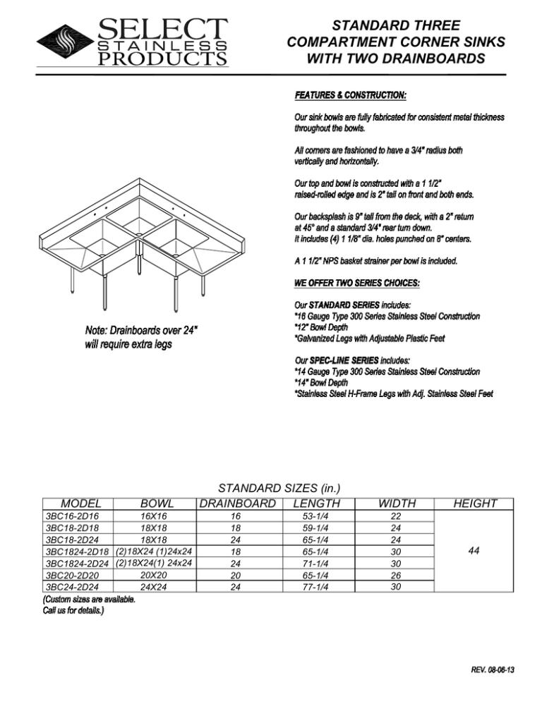 standard three compartment corner sinks