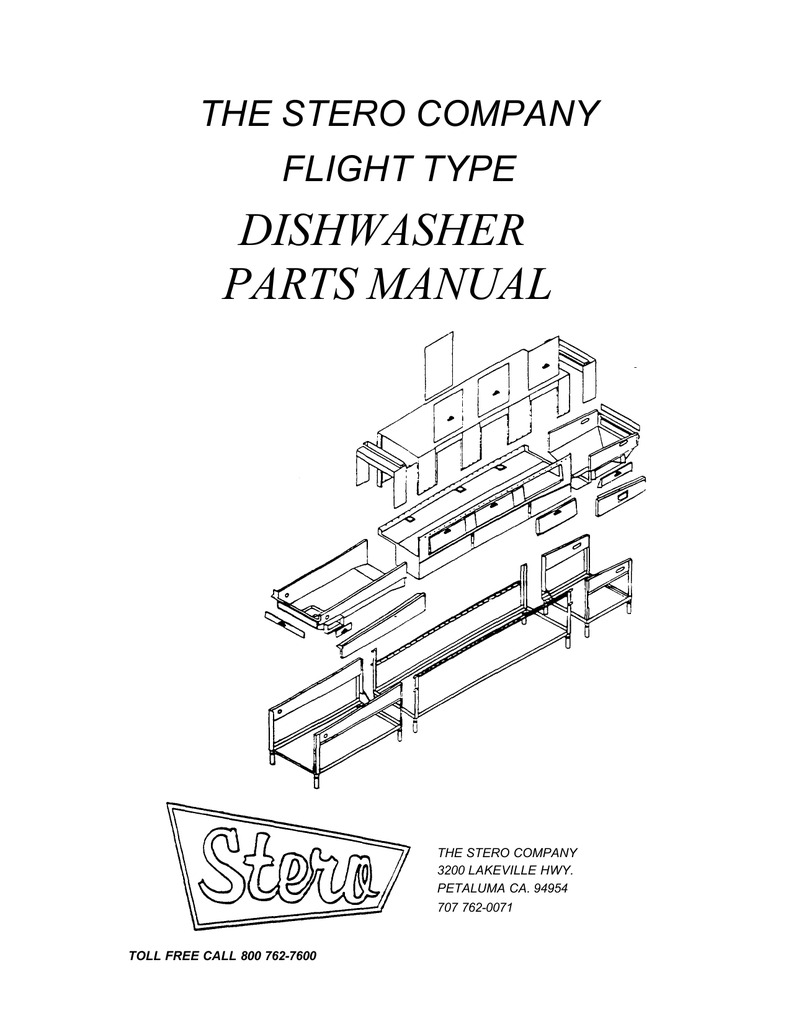 DISHWASHER PARTS MANUAL THE STERO COMPANY FLIGHT TYPE