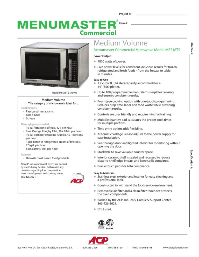 medium volume menumaster commercial