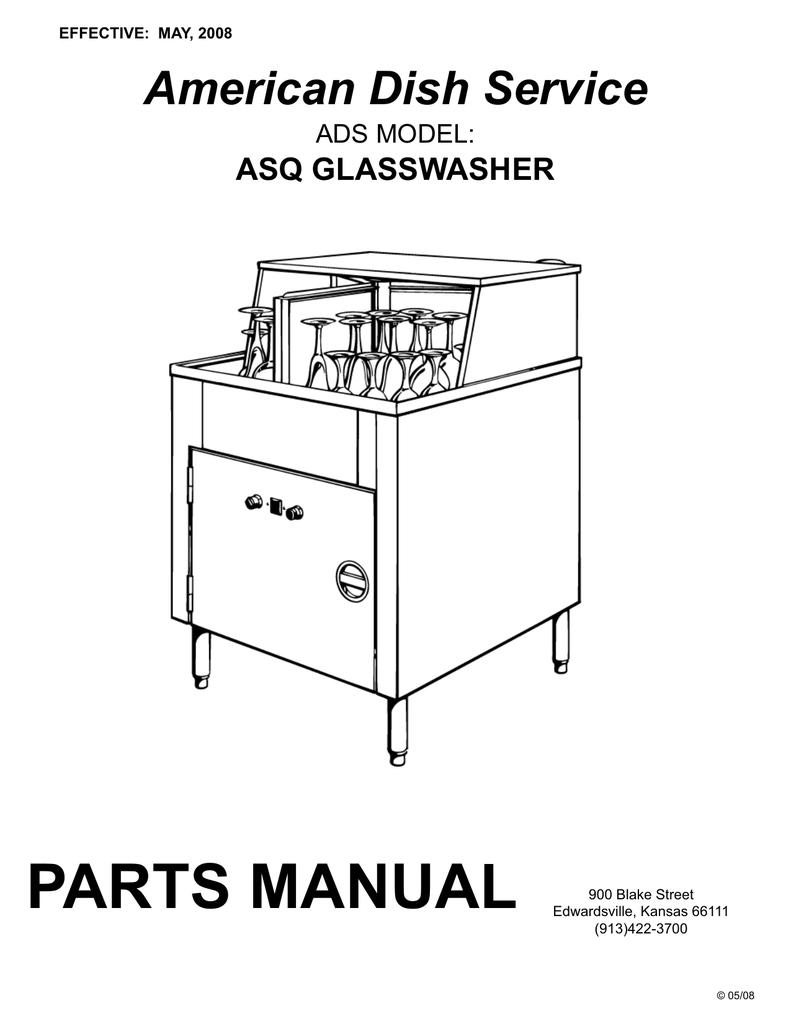 PARTS MANUAL American Dish Service ASQ GLASSWASHER ADS