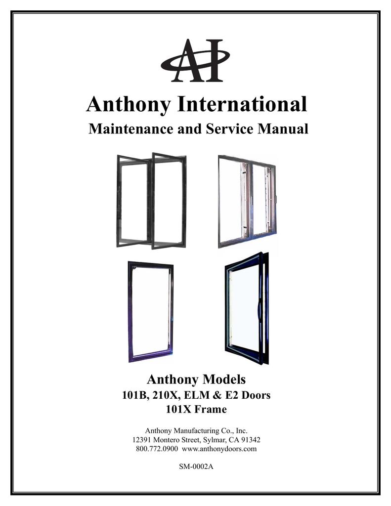 Anthony International Maintenance and Service Manual