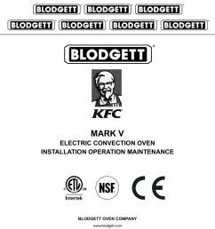 mark v electric convection oven installation operation maintenance blodgett oven company [ 791 x 1024 Pixel ]