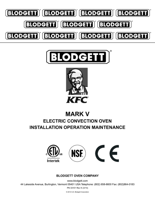 small resolution of mark v electric convection oven installation operation maintenance blodgett oven company