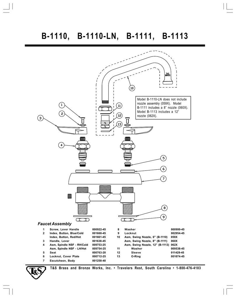 T & S Brass & Bronze Works B-1113, B-1110, B-1110-LN User