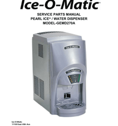 service parts manual water dispenser pearl ice model gemd270a [ 791 x 1024 Pixel ]