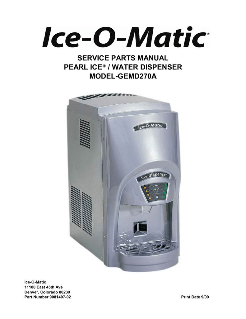 hight resolution of service parts manual water dispenser pearl ice model gemd270a