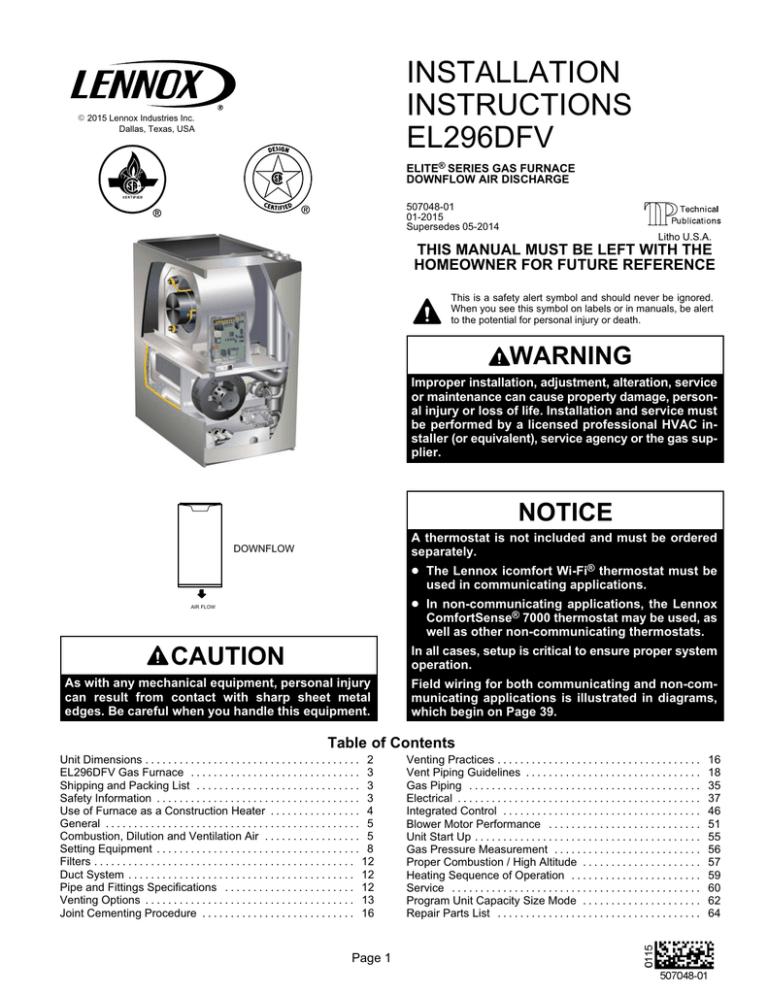 INSTALLATION INSTRUCTIONS EL296DFV THIS MANUAL MUST BE