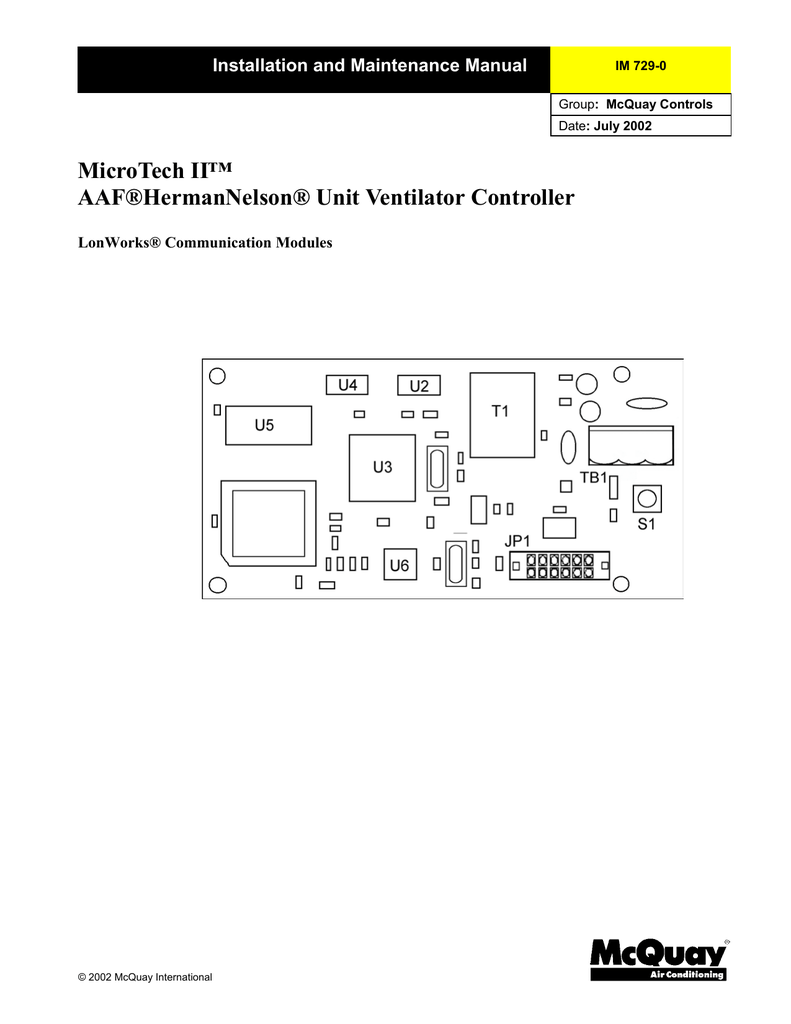 MicroTech II™ AAF®HermanNelson® Unit Ventilator Controller
