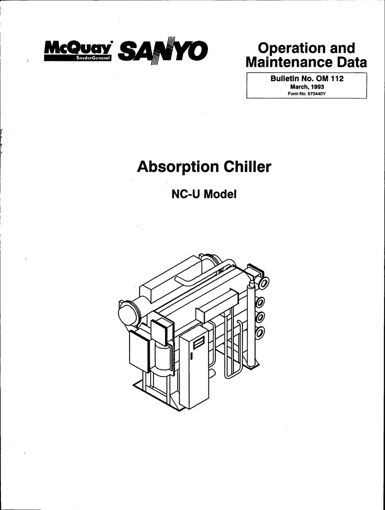 """McQuaY"""" Absorption Chiller Operation and Maintenance"""