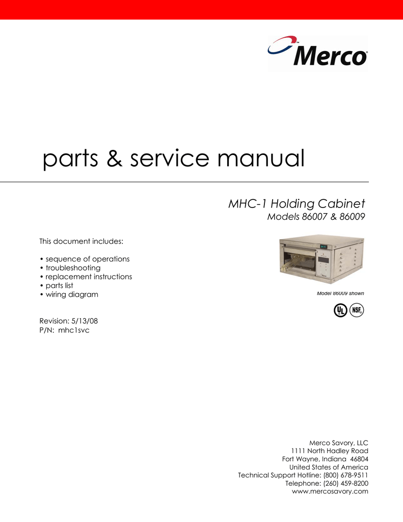 hight resolution of parts service manual mhc 1 holding cabinet models 86007 86009 manualzz com