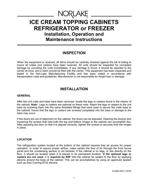 small resolution of ice cream topping cabinets refrigerator or freezer installation operation and