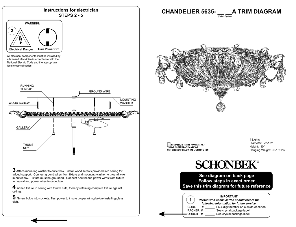 hight resolution of chandelier 5635 a trim diagram instructions for electrician 2