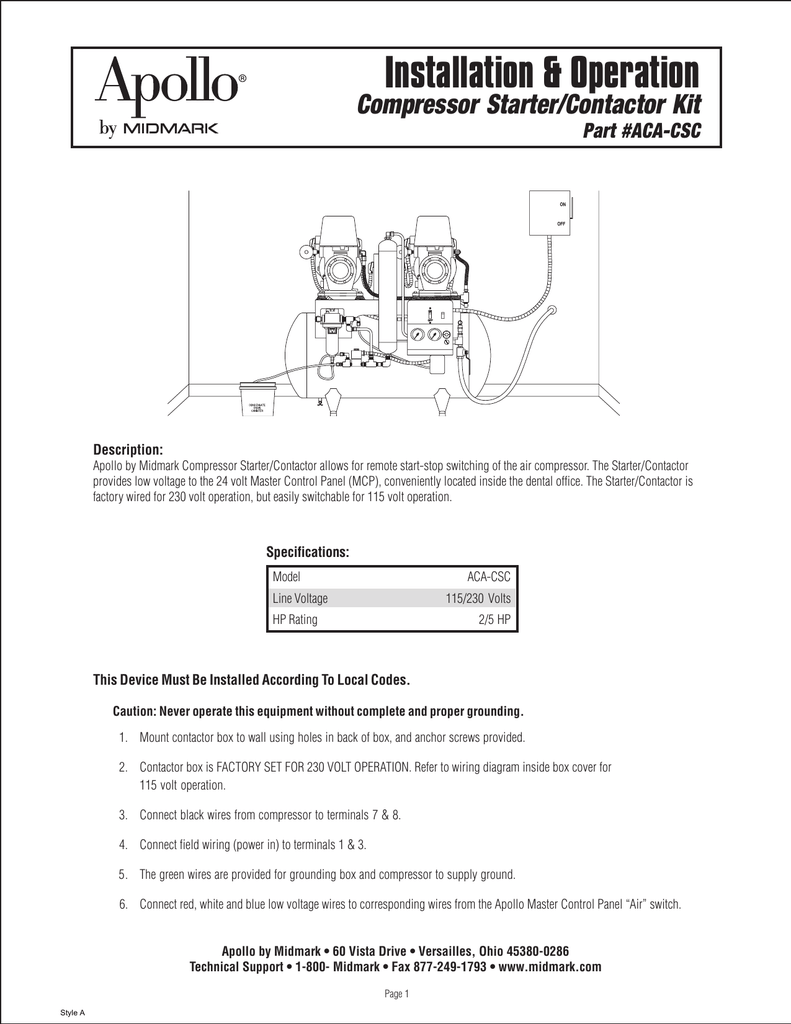 hight resolution of installation operation compressor starter contactor kit part aca csc description