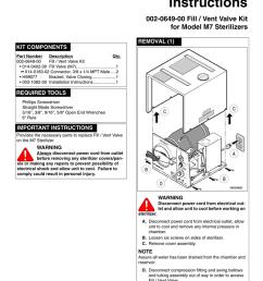 installation instructions 002 0649 00 fill vent valve kit for model m7 sterilizers [ 791 x 1024 Pixel ]