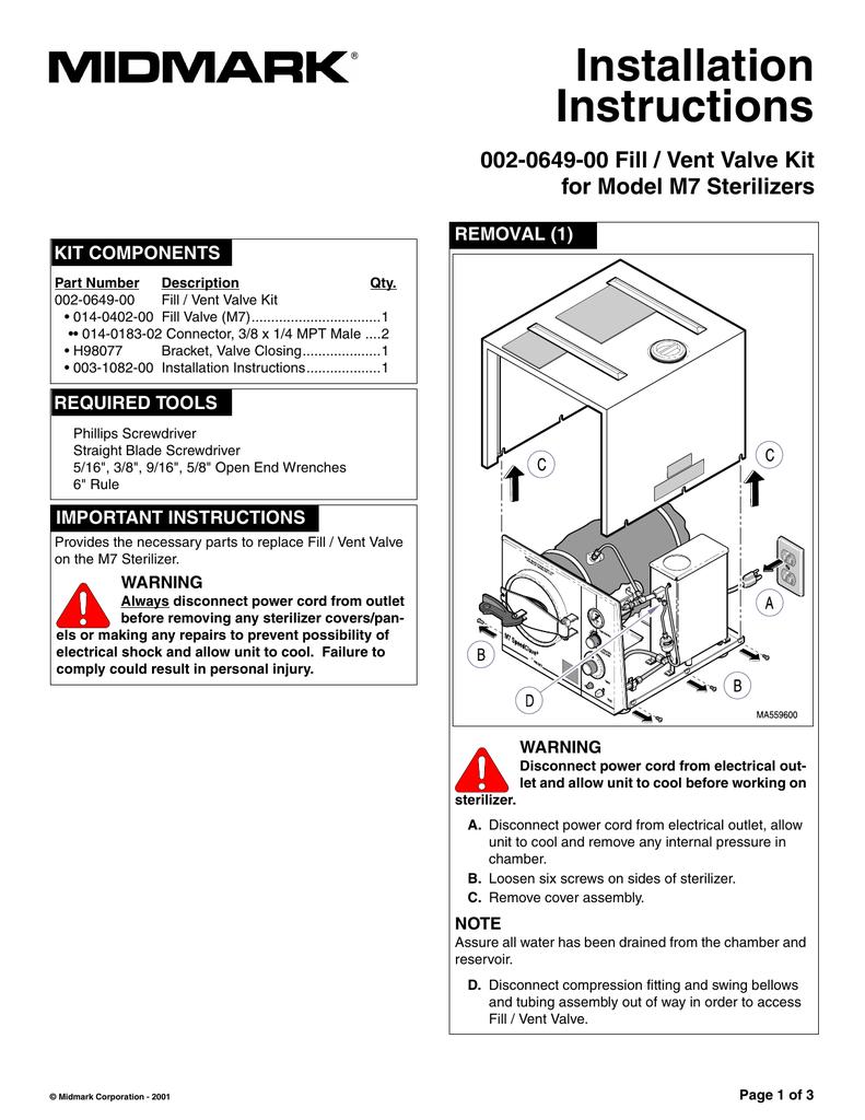 medium resolution of installation instructions 002 0649 00 fill vent valve kit for model m7 sterilizers