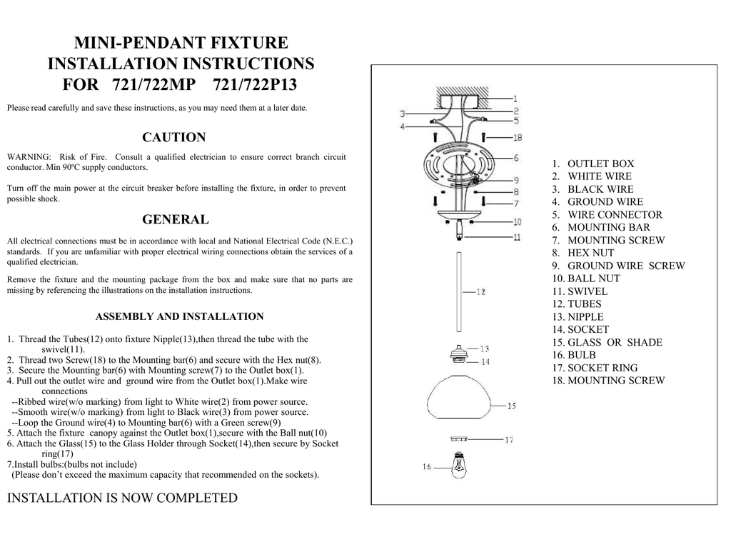 hight resolution of mini pendant fixture installation instructions for 721 722mp 721 722p13 caution