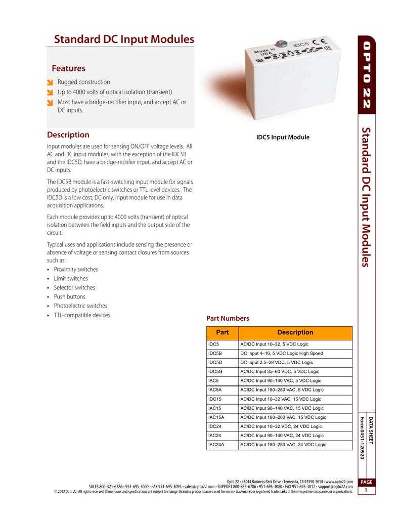 hight resolution of standard dc input modules features