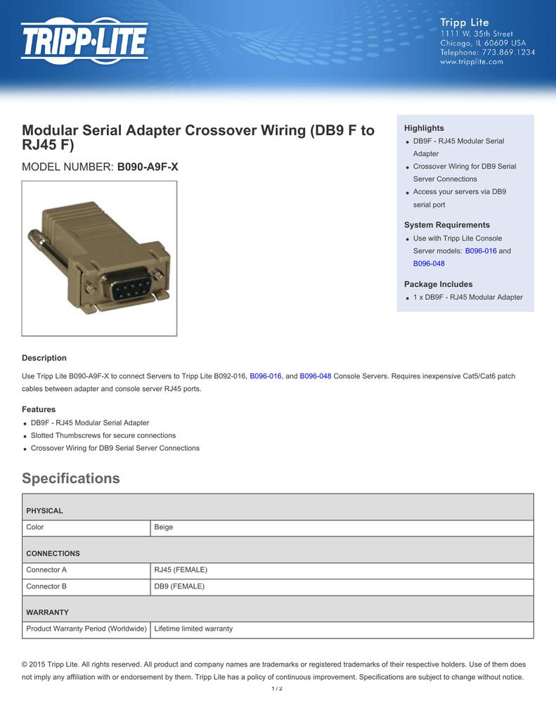 medium resolution of modular serial adapter crossover wiring db9 f to rj45 f b090 a9f x