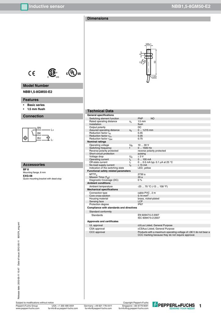 Inductive sensor NBB1,5-8GM50-E2 Dimensions Model Number