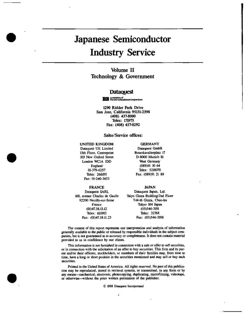 hight resolution of japanese semiconductor industry service volume ii technology amp government