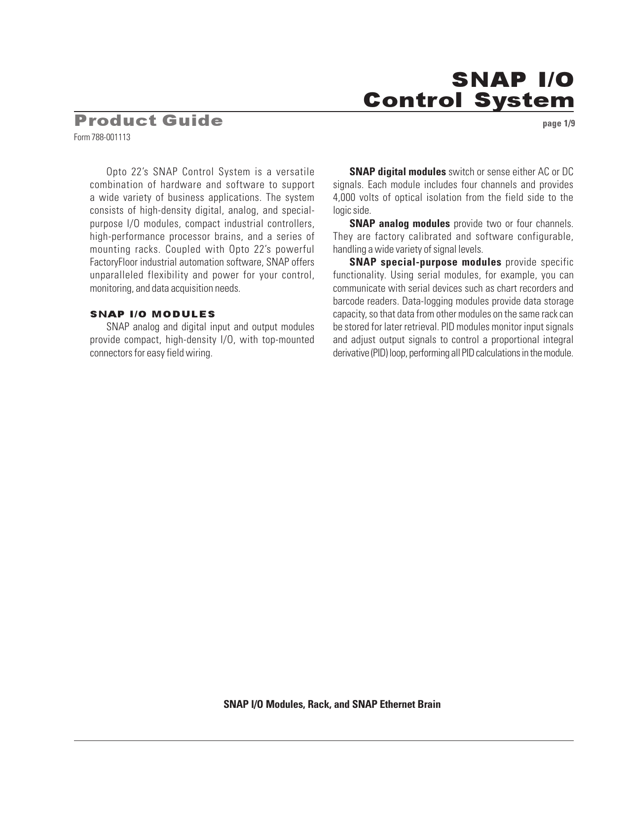 hight resolution of snap i o control system product guide