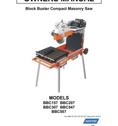 owners manual models block buster compact masonry saw [ 791 x 1024 Pixel ]