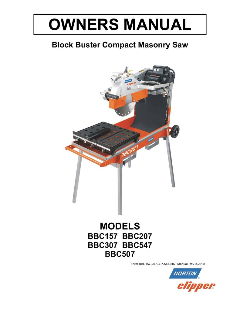 medium resolution of owners manual models block buster compact masonry saw