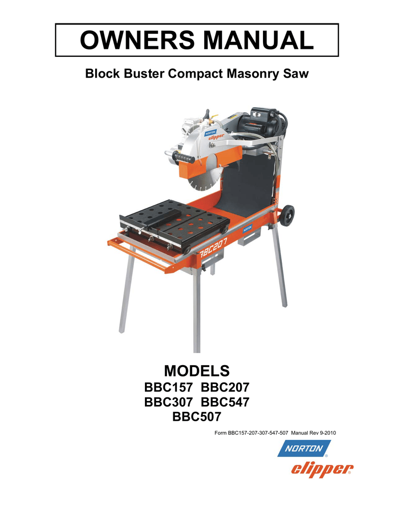 hight resolution of owners manual models block buster compact masonry saw