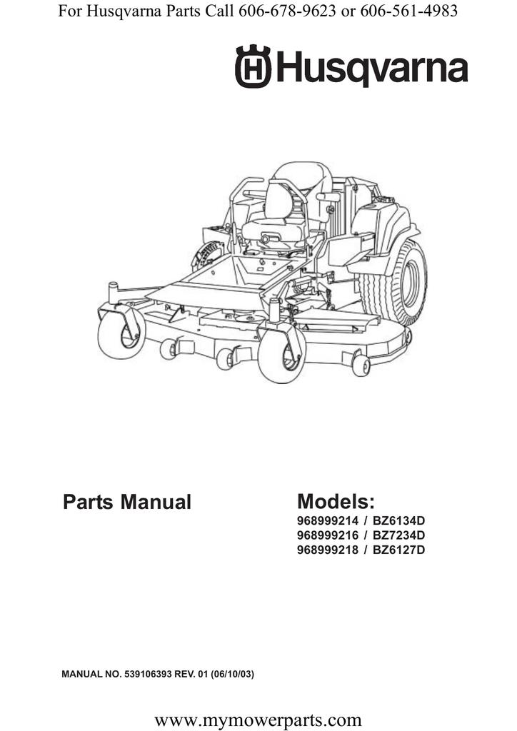 Parts Manual Models: www.mymowerparts.com For Husqvarna