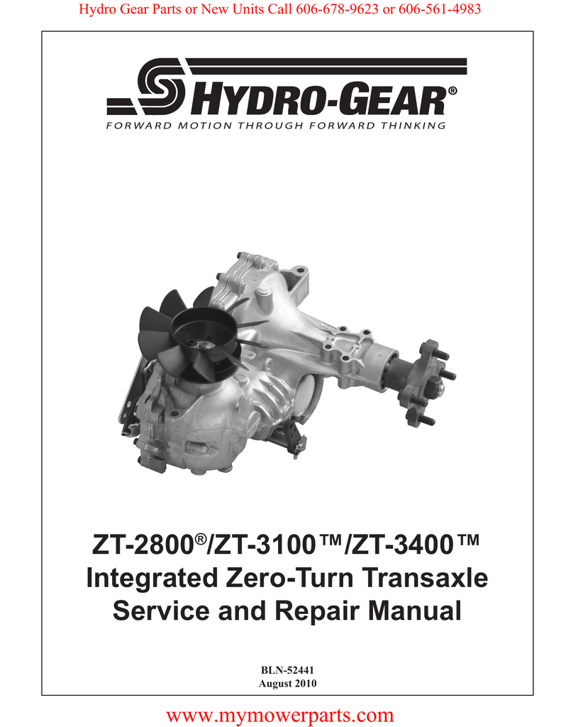 ZT-2800 /ZT-3100™/ZT-3400™ Integrated Zero-Turn Transaxle