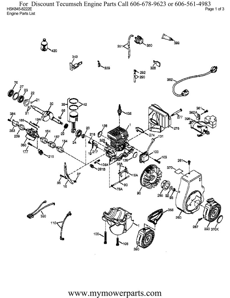 www.mymowerparts.com For Discount Tecumseh Engine Parts