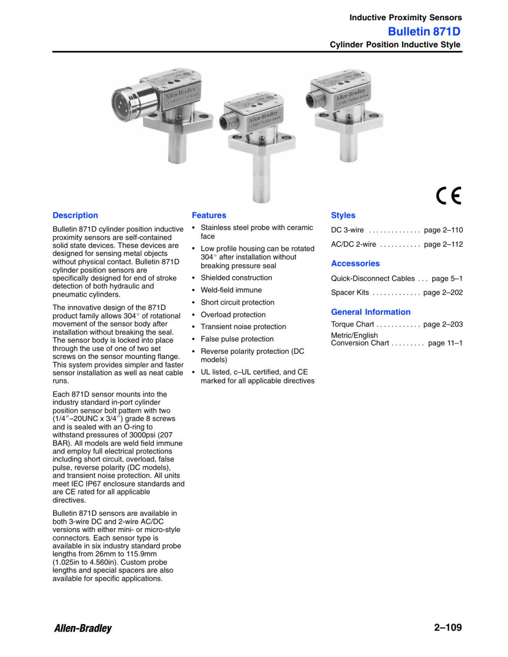 medium resolution of bulletin 871d inductive proximity sensors cylinder position inductive style description manualzz com