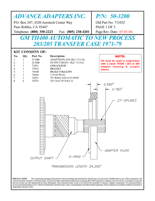 small resolution of advance adapters inc p n 50 3200 manualzz com th400 transmission diagram