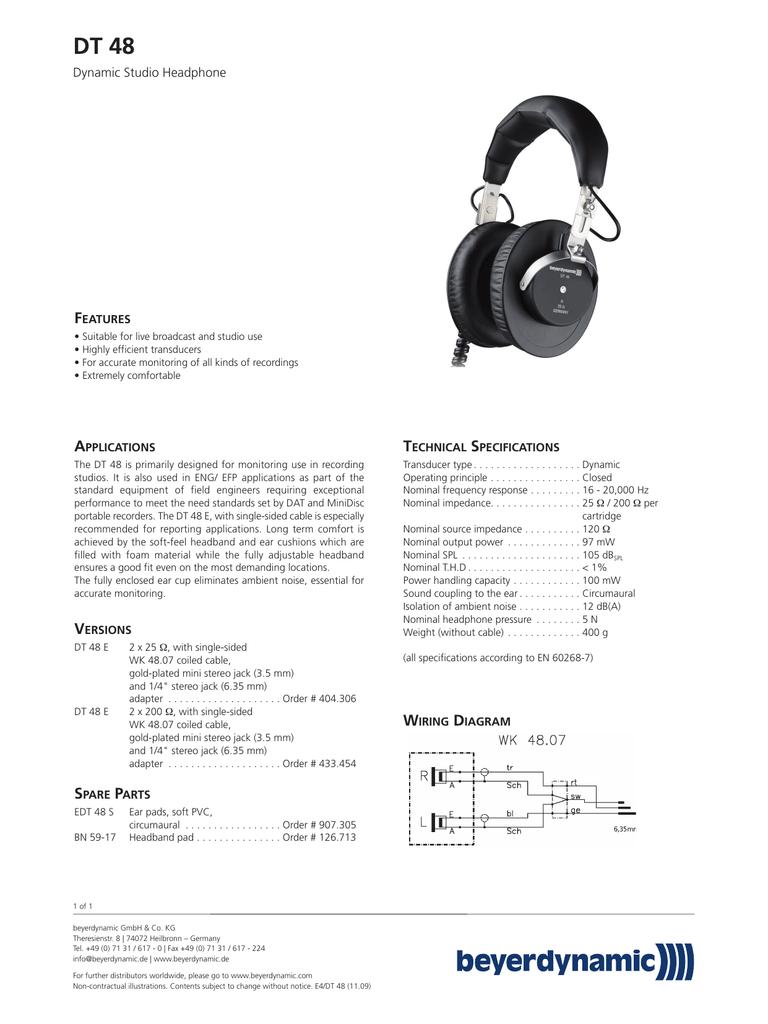 medium resolution of  iphone dt 48 f dynamic studio headphone eatures manualzz com headphone wiring diagram sided on