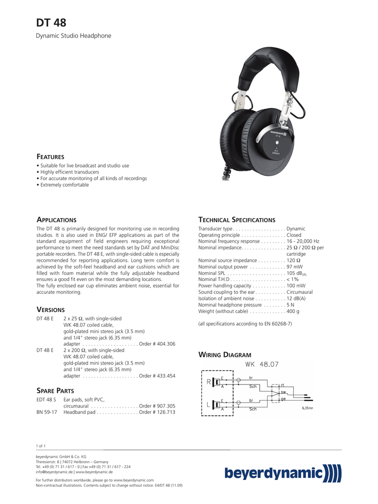 hight resolution of  iphone dt 48 f dynamic studio headphone eatures manualzz com headphone wiring diagram sided on
