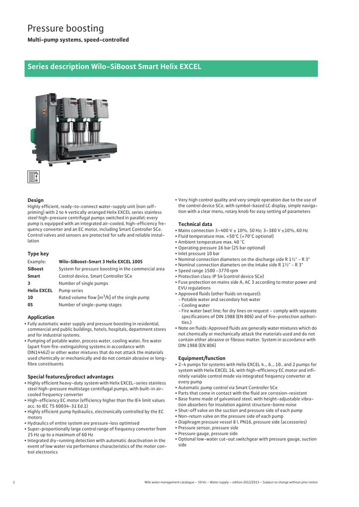 Pressure boosting Series description Wilo-SiBoost Smart