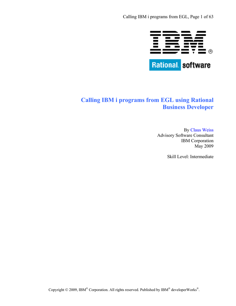 Calling IBM i programs from EGL using Rational Business