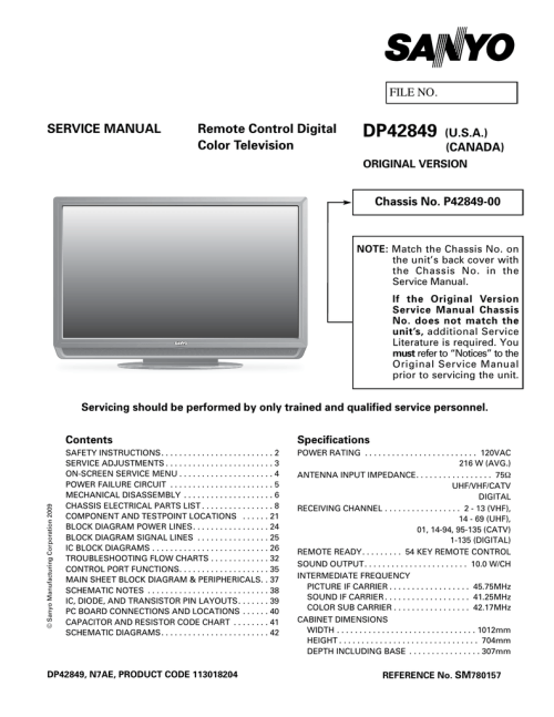 small resolution of schematic diagram dp42849 sanyo tv